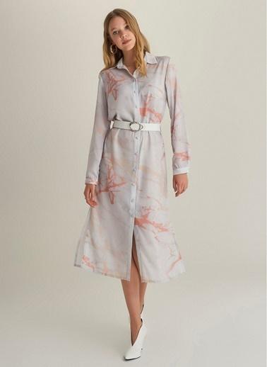 NGSTYLE Mermer Desen Gömlek Elbise Pudra